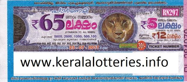 Pournami (RN-297) on July 23, 2017_Kerala Lottery