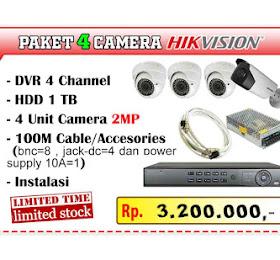 Paket CCTV Hikvision 4 Channel Camera <del>Rp 4.500.000</del> <price>Rp 3.200.000</price> <code>PAKET-HIK4CH-AKHIRTAHUN-0001</code>