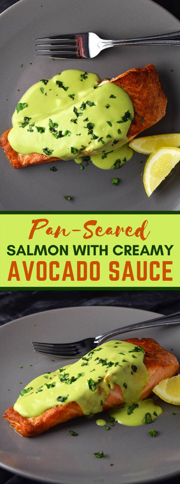 Pan-Seared Salmon with Creamy Avocado Sauce #dinner #recipes