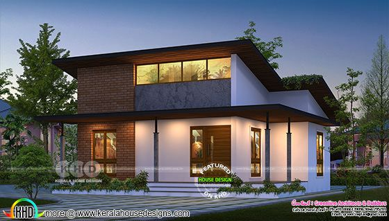 Front view rendering of a small budget ultra modern house