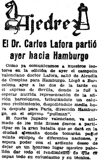 Recorte de Mundo Deportivo sobre la III Olimpiada de Ajedrez de Hamburgo 1930