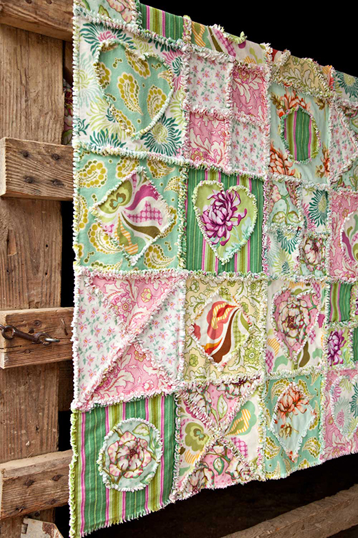 Happy Heart Flannel Quilt designed by Joyce Mullis for Free Spirit Fabrics featuring fabric from Freshcut Collection by Heather Bailey