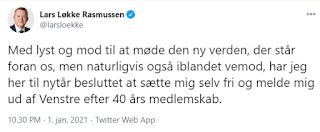 Tweet fra Lars Løkke Rasmussen 1. januar 2021