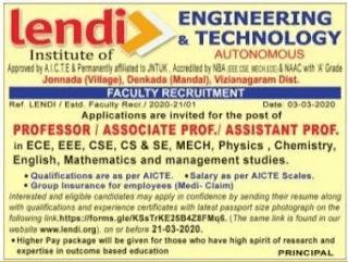 Lendi Institute of Engineering & Technology Assistant professor jobs