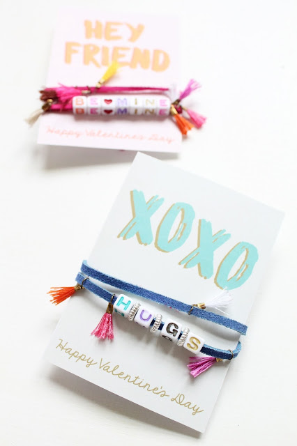 Use colorful letter beads to make personalized bracelet Valentines for friends and classmates.