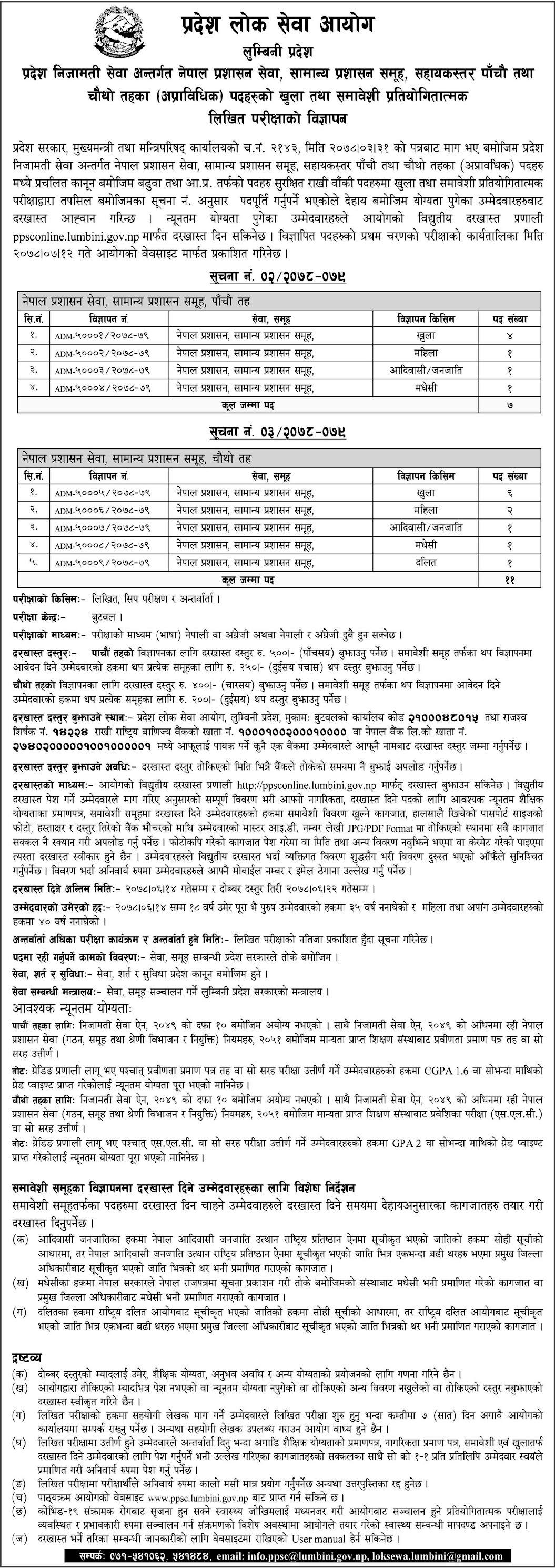 Job Vacancy For Level 4th and 5th Lumbini Pradesh Lok Sewa Aayog
