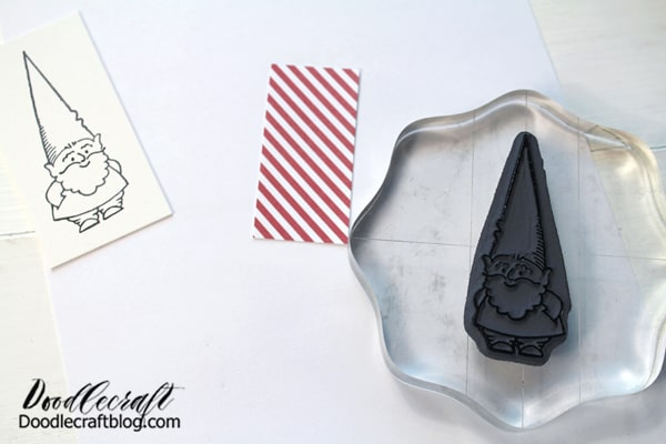 Step 3: Stamping Now stamp or draw your gnome on the cardstock. Stamp it again on some patterned paper, just for paper piecing the hat.
