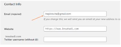 mengubah email admin