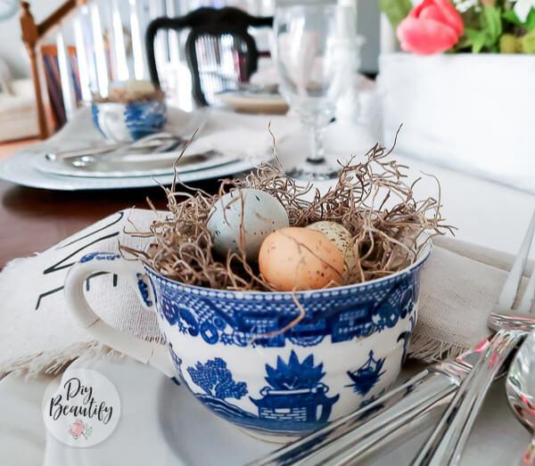 DIY nest in vintage tea cup