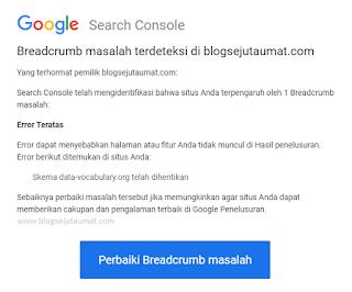 Tampilan Email Error Breadcrumb Google Search Console