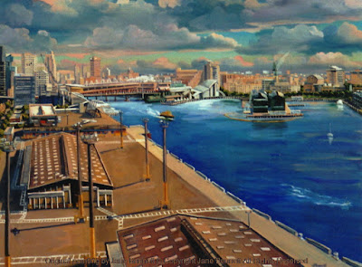 watercolour and gouache painting on paper of panorama of Barangaroo & Pyrmont from the top of the Harbour Control Tower by industrial heritage artist Jane Bennett