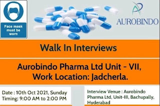 Aurobindo Pharma Ltd Recruitment 2021 For M.Pharm/B Phram/B.Sc / Diploma/ ITI Holders   Walk In Interviews On 10th Oct 2021