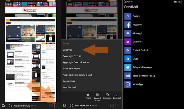 Windows Phone 10 - Microsoft Edge - Condividi link