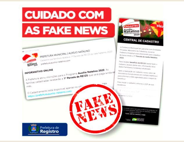 Prefeitura de Registro-SP alerta para fake news de auxílio-natalino