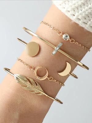 Feather & Moon Bracelet Set 5pcs