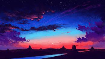 Beautiful, Sunset, Sky, Clouds, Secenery, Digital Art, 4K, #6.2647