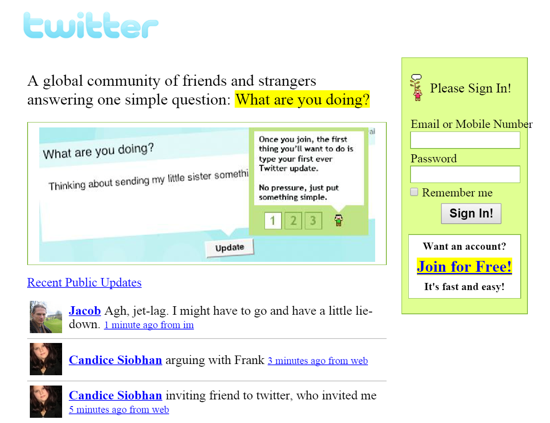 Twitter interface November 2006