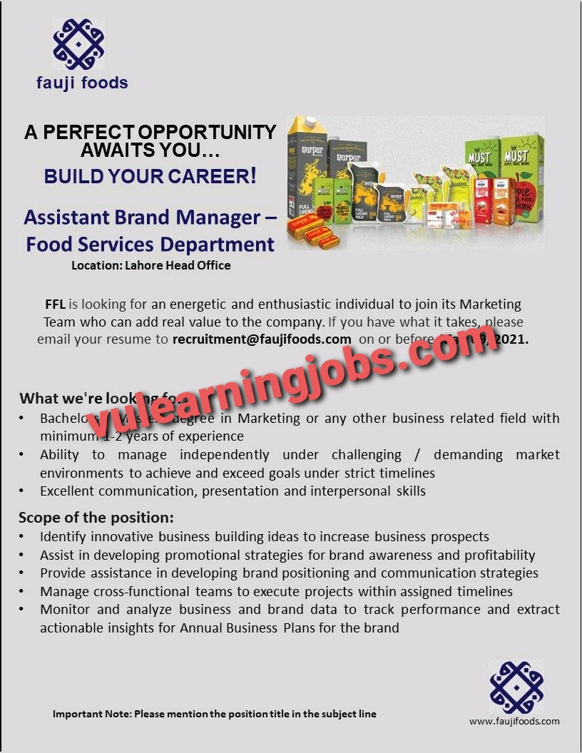 Fauji Foods Jobs 2021 Latest | Apply Now