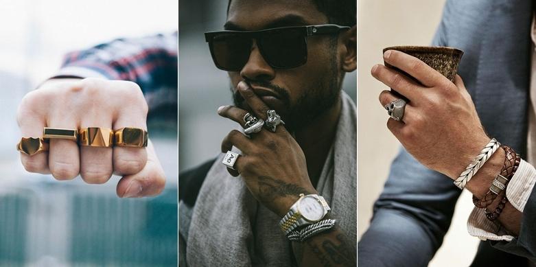 QUANTIDADE NÃO É A MESMA COISA QUE QUALIDADE  Eu vejo muitas pessoas errando quando estão usando anéis porque acabam colocando muitas peças na mesma mão. Isso faz com que a gente se sinta confuso ao olhar para as peças sem conseguir fazer com que uma chame atenção. Os anéis servem para ser parte do look, ser uma parte de quem você é assim como tudo o que você faz ou veste.  Os homens usam um anel, ou vários na mesma mão. Isso pode ser o que vai destruir o seu look ou o que vai salvar o seu dia. Quando escolher a quantidade de anéis, faça isso de forma correta. Não encha sua mão, coloque no máximo 3 em uma mão e 2 em outra. Não que isso seja uma regra, sempre lembro que essa é minha opinião, mas que já conheci pessoas que usam muito mais do que esse numero de anéis e que fazem parte do meu grupo de exceção.
