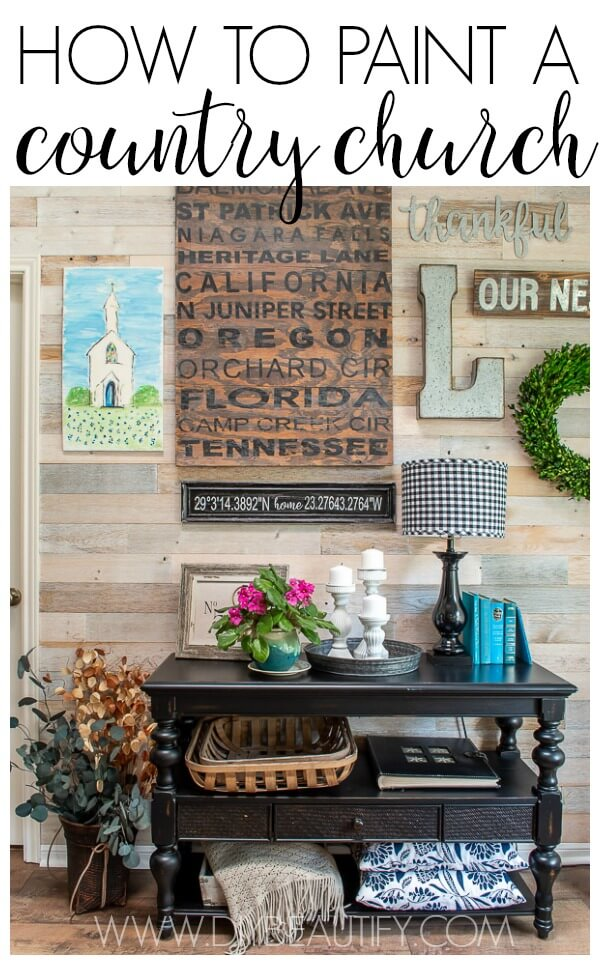 gallery wall with DIY painted country church