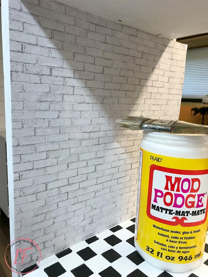 DIY Dollhouse Bookcase Decoupaged Walls