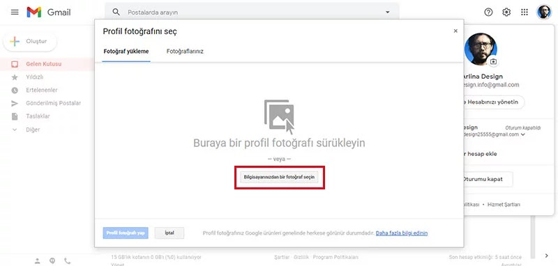Gmail Profil Resmini Değiştirme