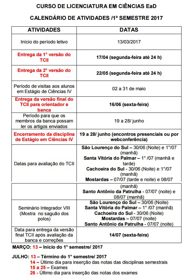 Calendario Uab.Cead Vale Do Jacui Polo Uab Etec Cachoeira Do Sul Calendario