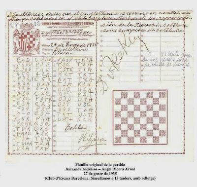 Planilla de la partida de ajedrez Alekhine  Ribera