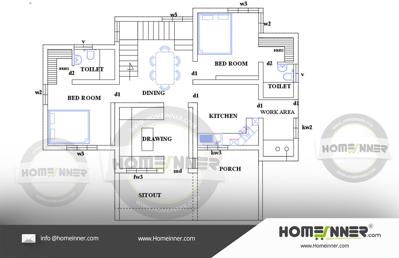Free Low cost house plan 900 sq ft 2 bedroom