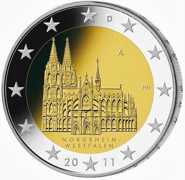 2 Euro Commemorative Coins Germany 2011 Cologne cathedral, Federal state of North Rhine-Westphalia