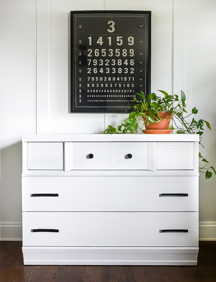 White painted MCM dresser with black hardware