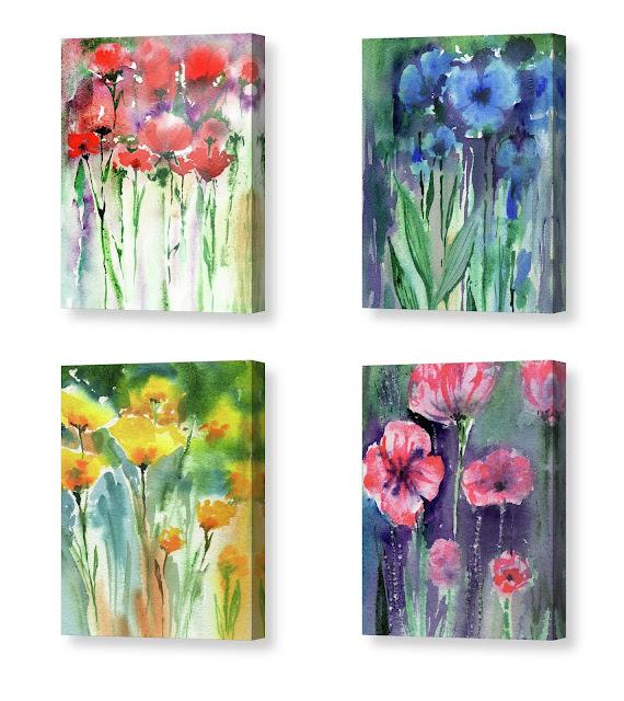 Abstract Watercolor Flowers  by Irina Sztukowski Pink Red Yellow Blue Wildflowers