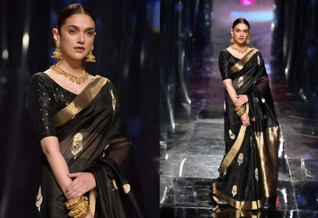 Aditi Rao Hydari wearing a black saree