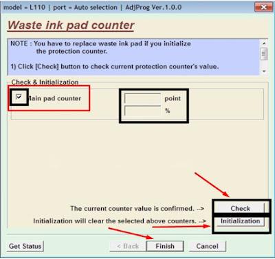 """Klik """" Ok """". Layar lain akan muncul. Pastikan kotak centang main pad counter pada halaman ini dicentang. Klik tombol Check untuk memeriksa nilai penghitung perlindungan saat ini. Klik tombol Initialization untuk mereset penghitung perlindungan ke nilai awal."""