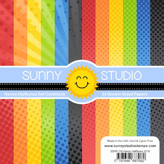 Sunny Studio Stamps: Heroic Halftones Primary Colored Polka-dot 6x6 Patterned Paper Pack