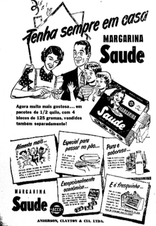 Propaganda antiga da Margarina Saúde veiculada no começo dos anos 50