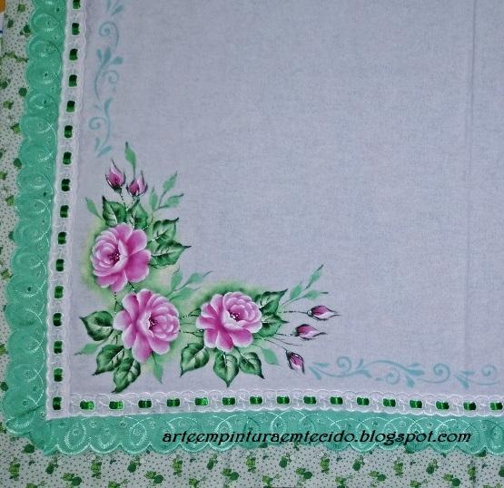 pintura de rosas toalha de mesa