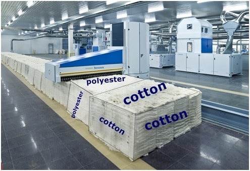 Polyester-cotton fibre blending in blowroom