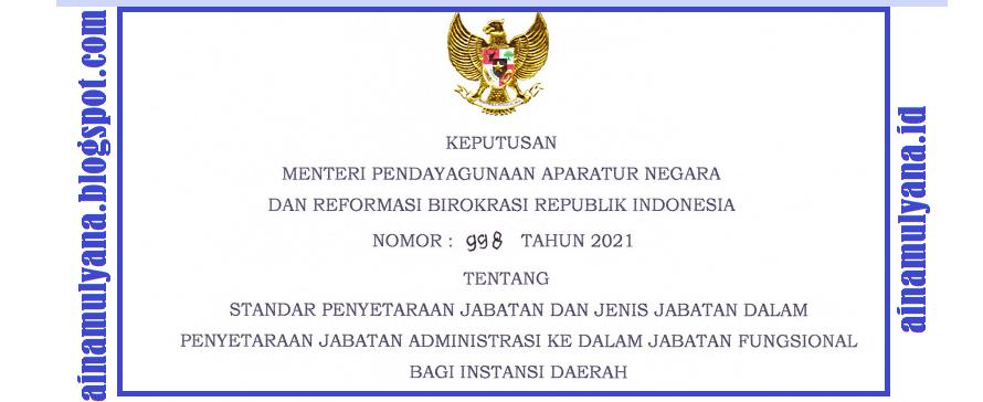 Kepmenpan RB Nomor 998 Tahun 2021