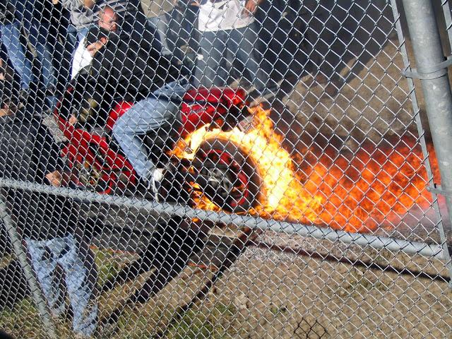 Motorcycle Flaming Burnout Kawasaki ZX12