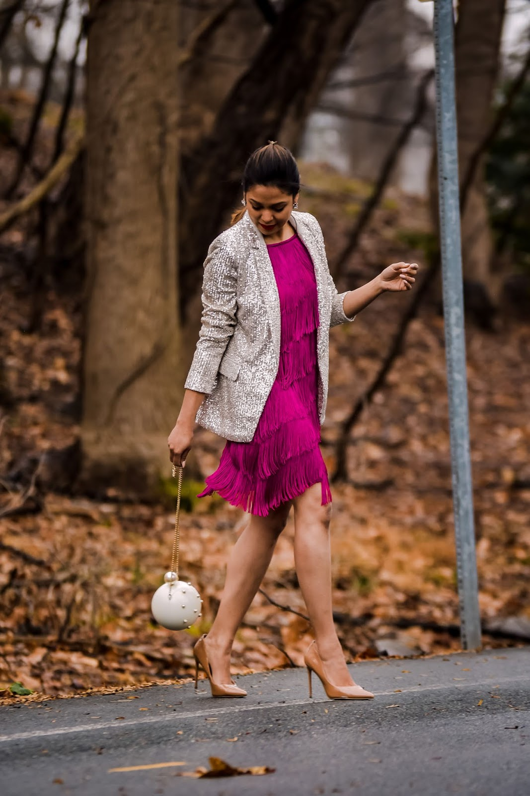 tassel pink dress, Gatsby theme party outfit, sequin, valentine's day outfit idea, sequin blazer, fashion, street style, ootd, outfit, nude heels, banana republic jacket.