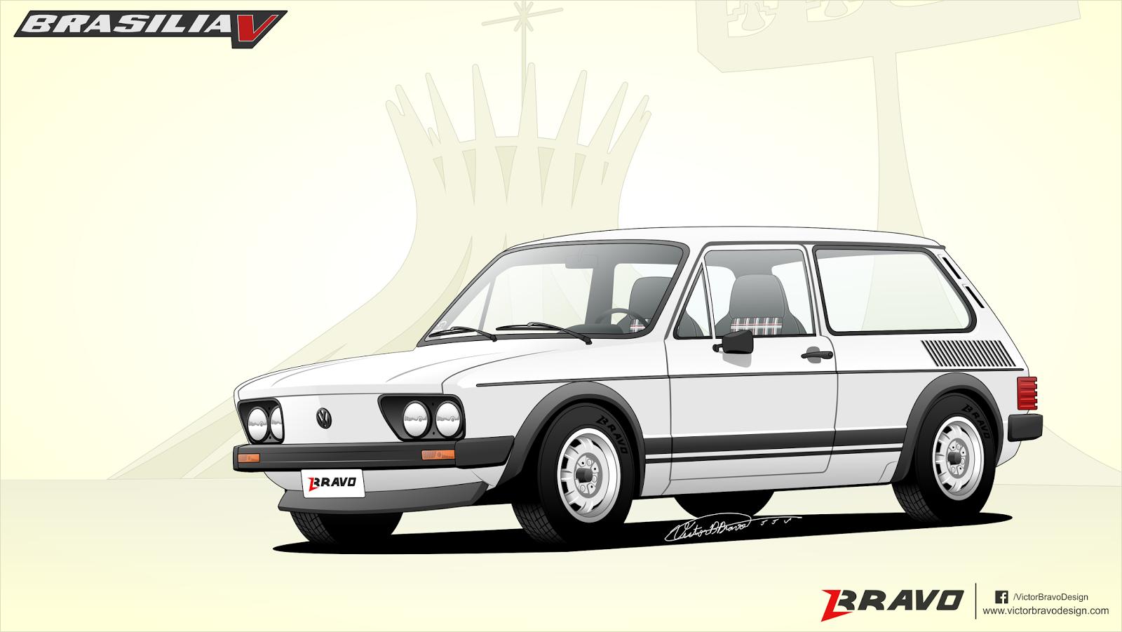 Imagem mostrando o desenho do Volkswagen Brasilia ''V''