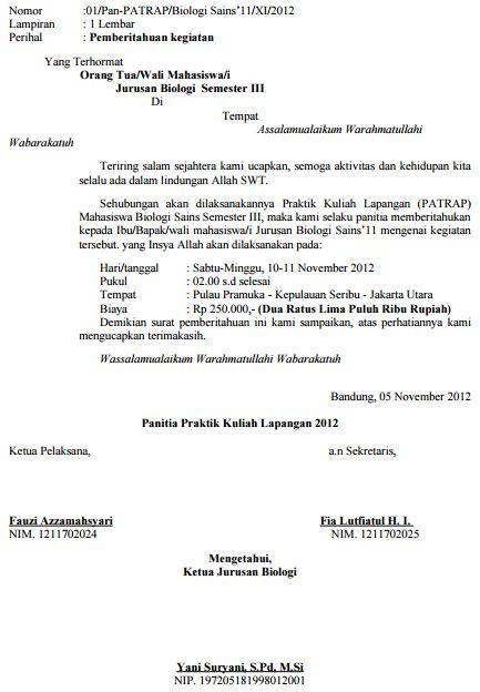 Surat pemberitahuan iuran praktikum