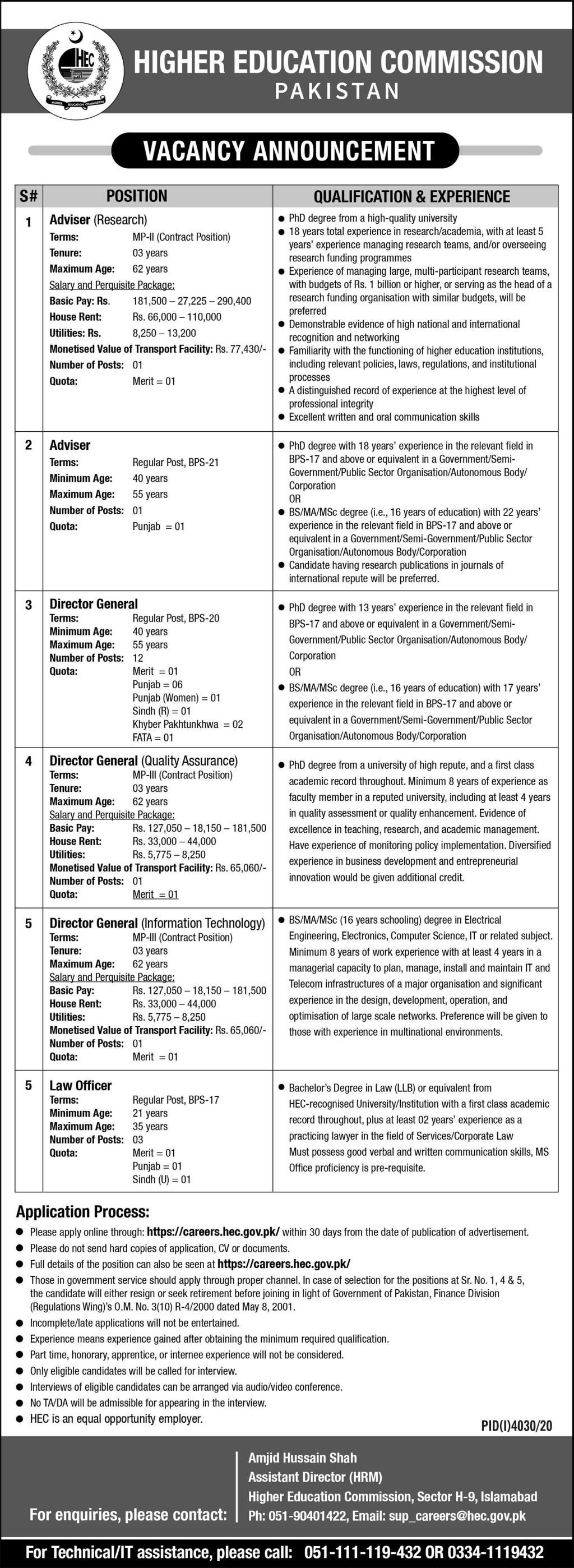 Higher Education Commission HEC Jobs 2021 For Research Advisor, Director General, Law Officer & more