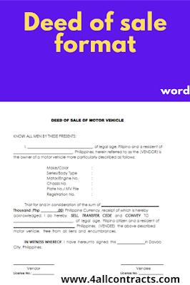 Sample Deed of sale form