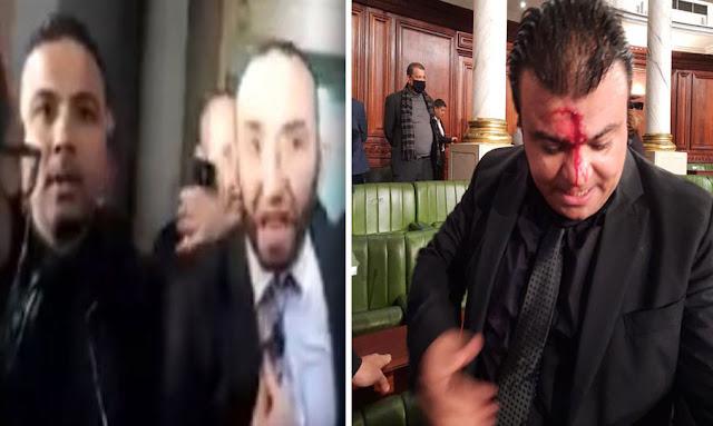 تونس : بالفيديو ... خطير الاعتداء بالعنف الشديد من نواب ائتلاف الكرامة على النائب انور الشاهد