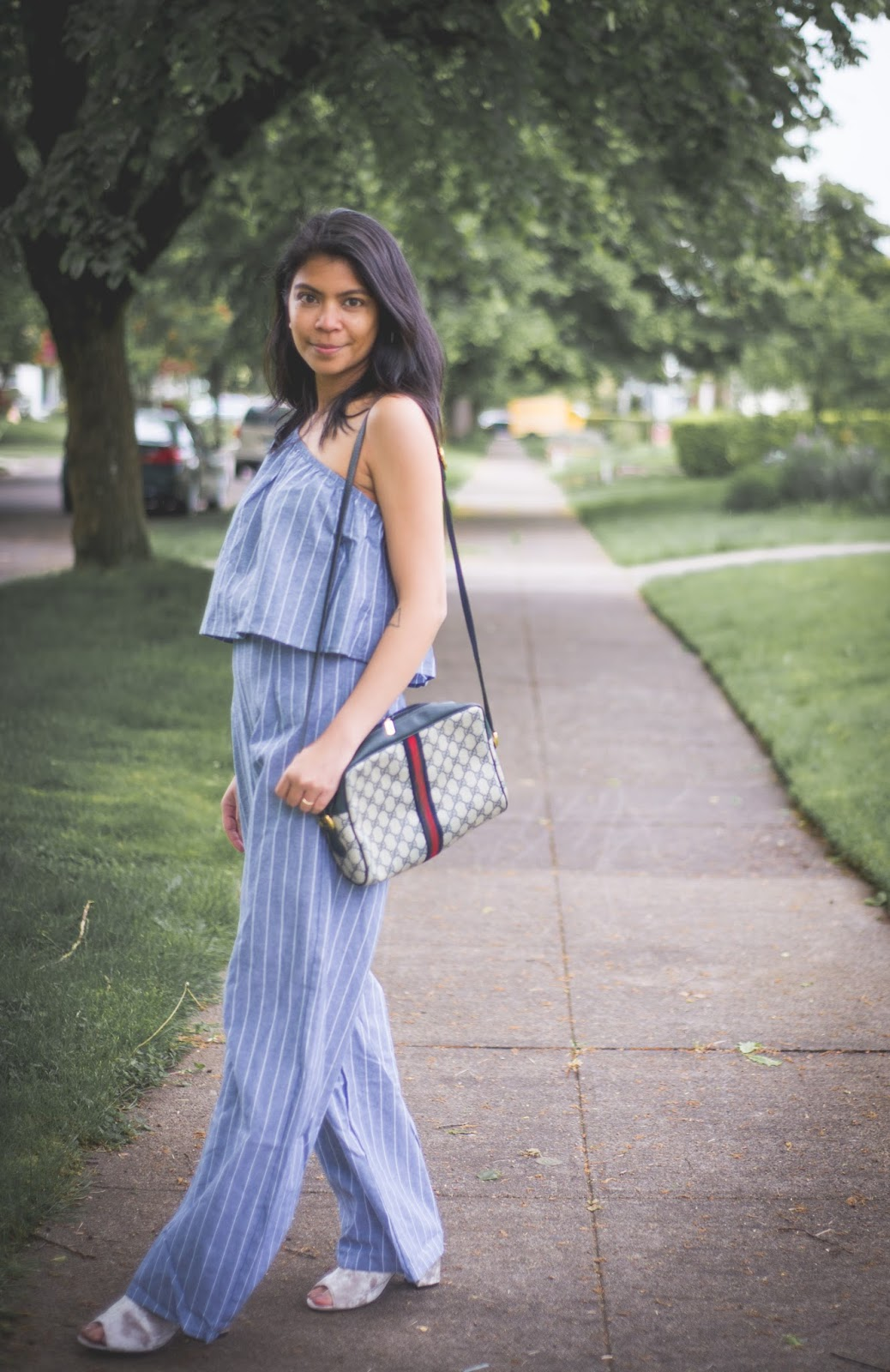 one shoulder ruffled top, wide leg pants, high waist, striped top, mules, summer look