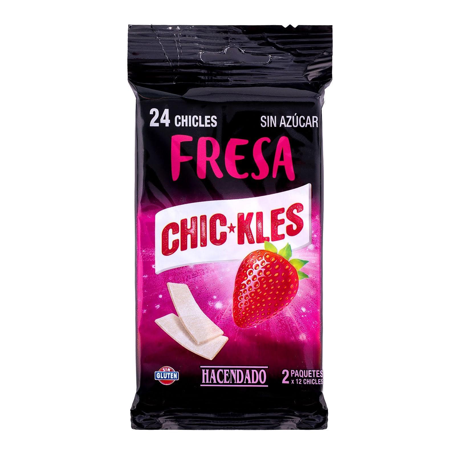 Chicles sin azúcar en láminas sabor fresa Chic-Kles Hacendado