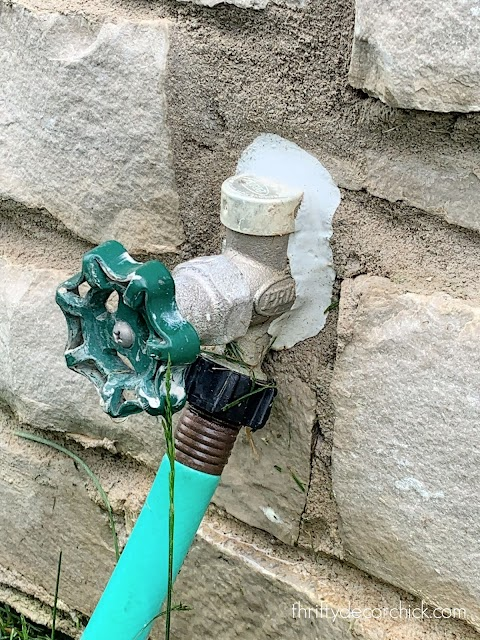 low and shallow spigot on house