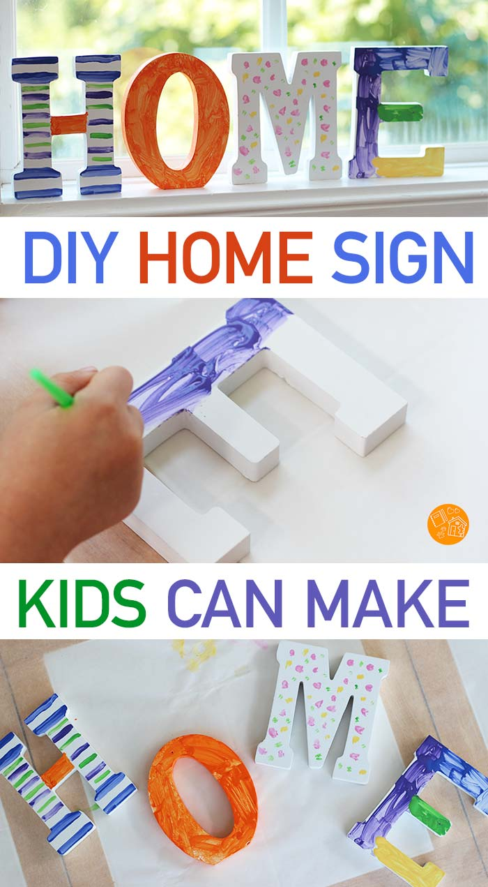Make a DIY home sign with your kids! A fun art project that makes a great gift or DIY home decor. Painted home letters for Family Dinner Book Club. #home #DIY #homedecor #kids